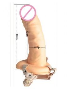 Dương vật giả dây đeo rỗng ruột cong cho nam giới