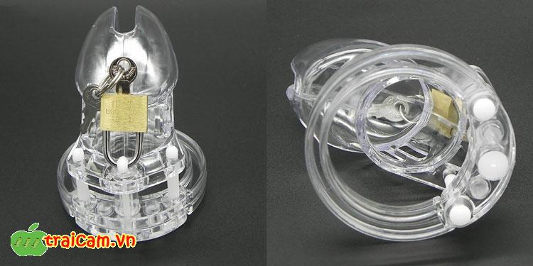 Khóa dương vật bằng nhựa trong suốt bảo vệ trinh tiết nam giới 2