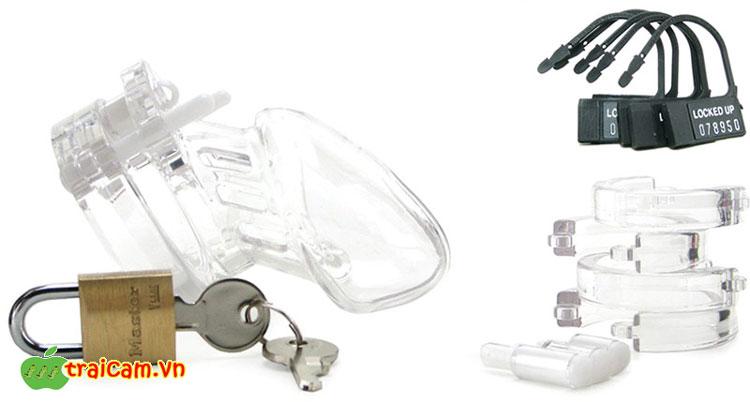Khóa dương vật bằng nhựa trong suốt bảo vệ trinh tiết nam giới 4