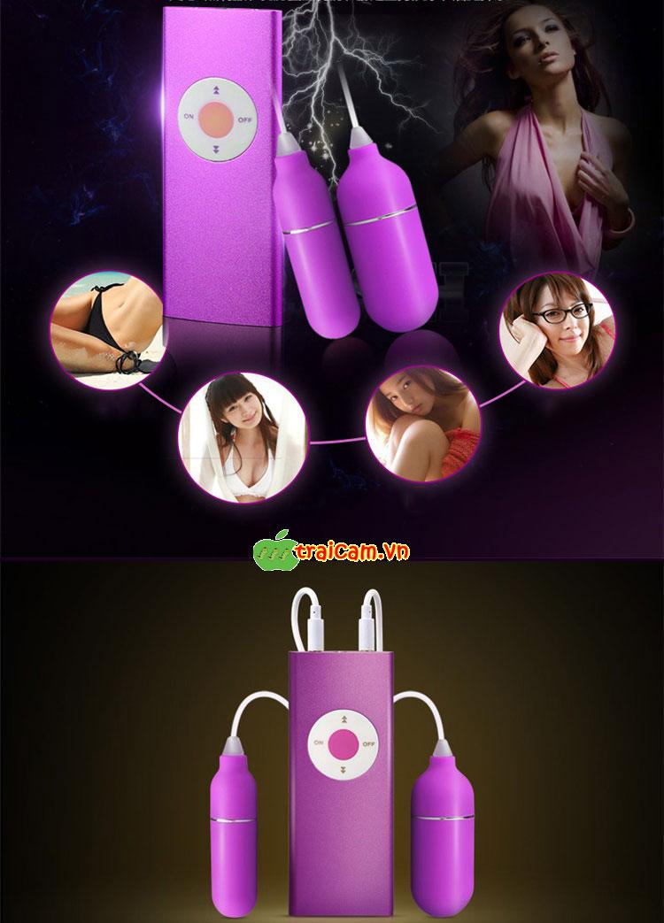Trứng rung đôi tình yêu mô phỏng máy nghe nhạc MP3 Leten rung âm đạo siêu mạnh 3
